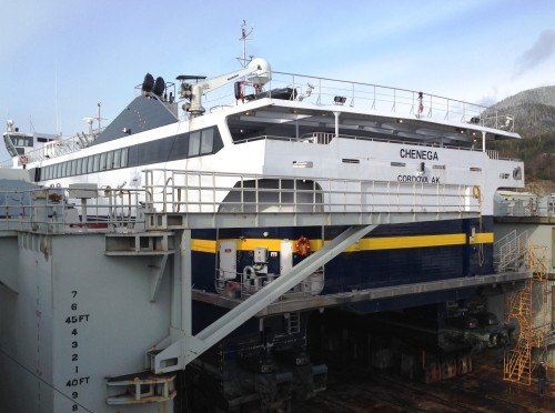 The fast ferry Chenega is up on blocks for repairs and maintenance at the Ketchikan Shipyard Feb. 21, 2014. The Alaska Marine Highway, roads, airports and other transportation projects could get a funding boost under Legislation moving in the state House. (Ed Schoenfeld/CoastAlaska News)