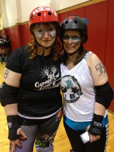 Sisters She Ricochets and Little Lisa Larseny make nice after the bout - Photo by Shady Grove Oliver/KSTK