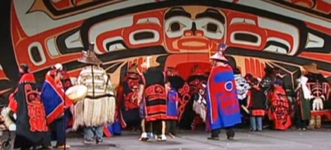 Wrangell's Old Willow Town Dancers, made of students in the community's Johnson-O'Malley Program, perform at Celebration 2014. (Screenshot/360North)