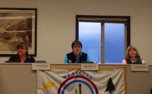 Patti Mackey, Agnes Moran and Chere Klein answer questions at City Hall in Wrangell Tuesday, July 29, 2014.