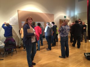 The public examines possible Wrangell Institute property plans.