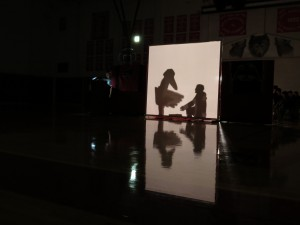 High school and middle school students act out the story of fog woman and raven. (Aaron Bolton, KSTK News)