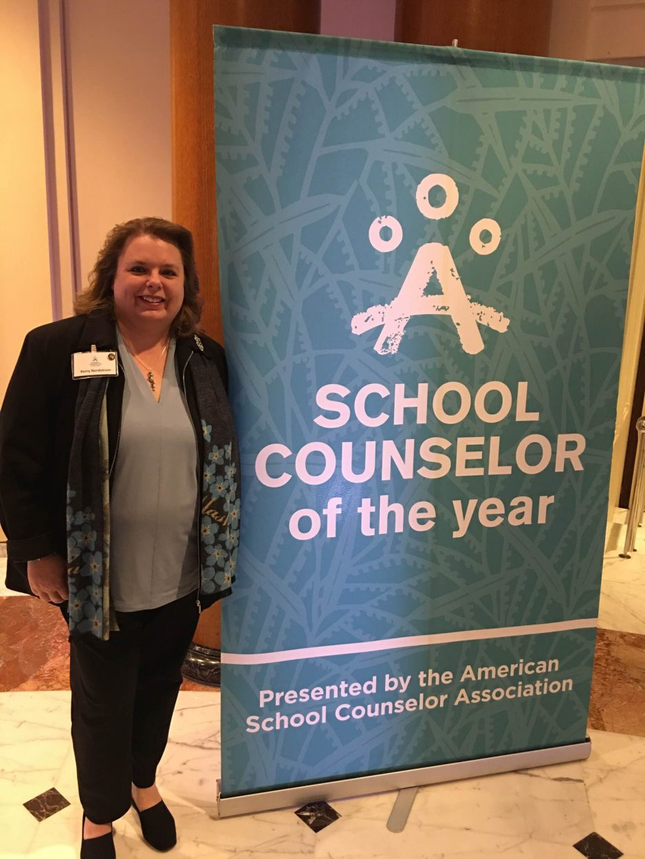 Kerry Nordstrom attended the national school counselor award ceremony at the White House. (Courtesy of Nordstrom.)