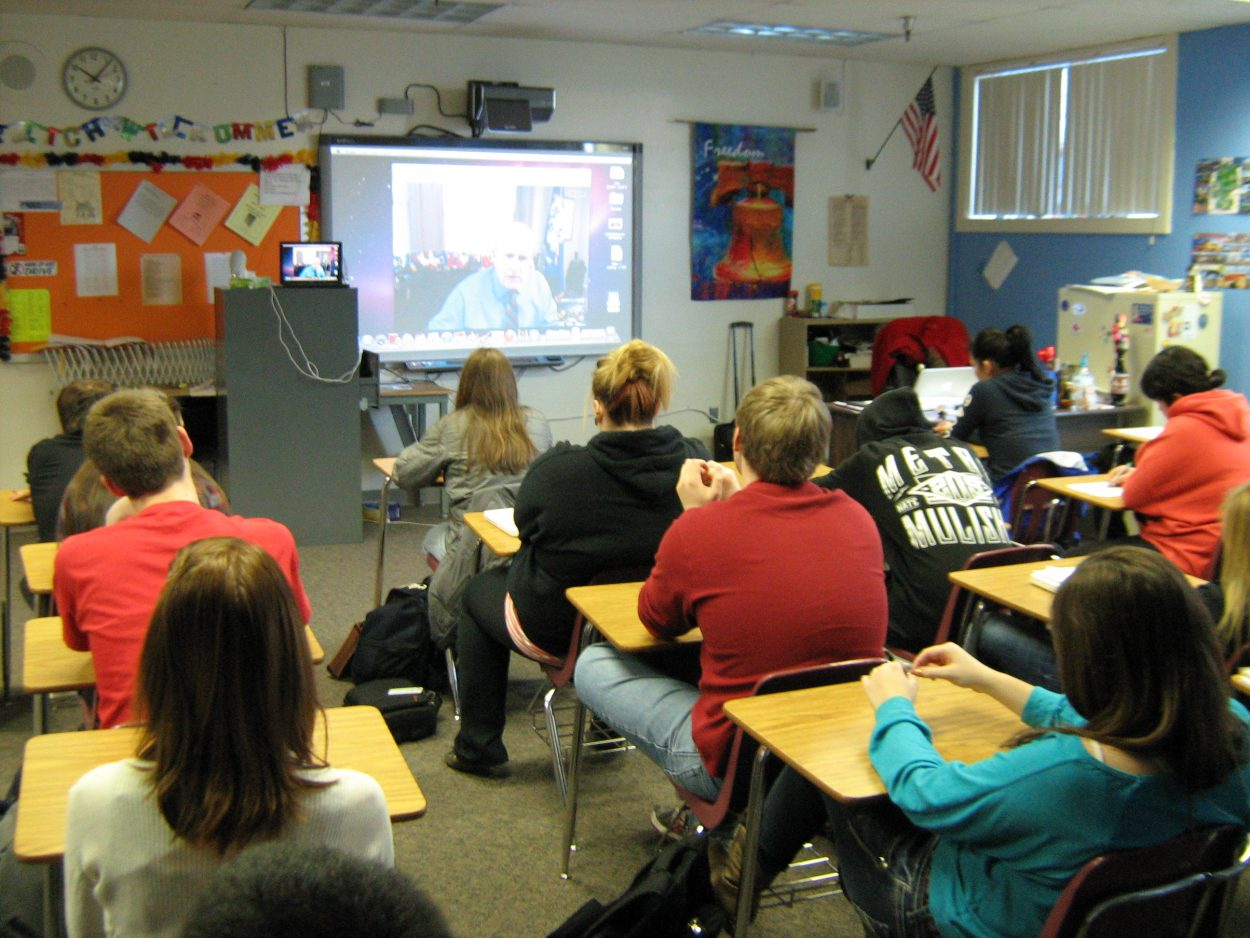 High school civics class Skypes political experts