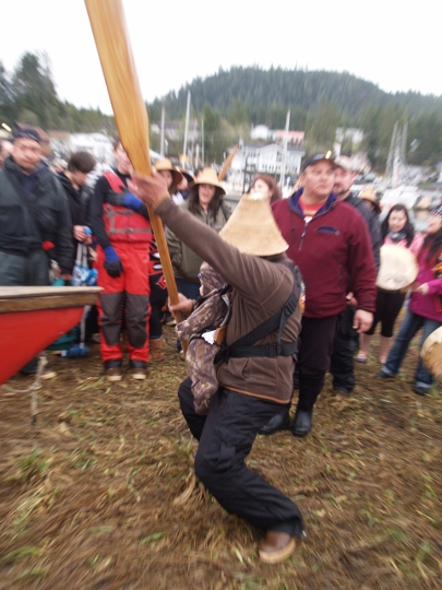 Seven canoes land in Wrangell