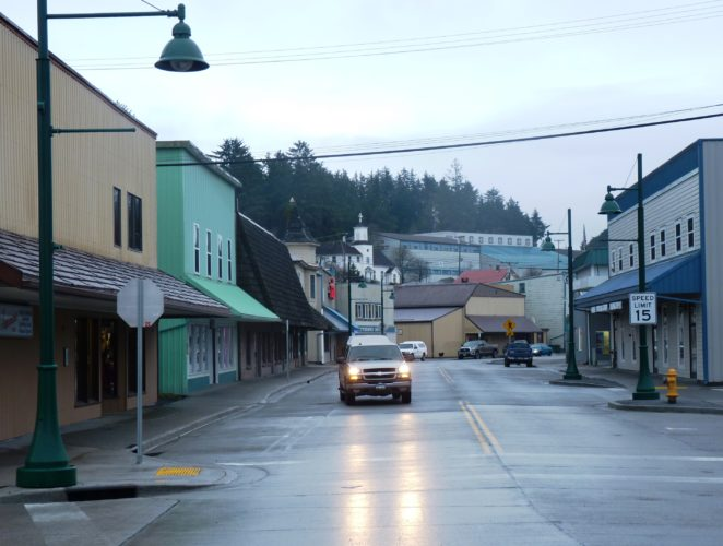 A truck drives through an uncrowded downtown Wrangell in this 2013 photo. The community's incoming borough manager says she'll continue persuing economic development. (Photo by Ed Schoenfeld, CoastAlaska News)