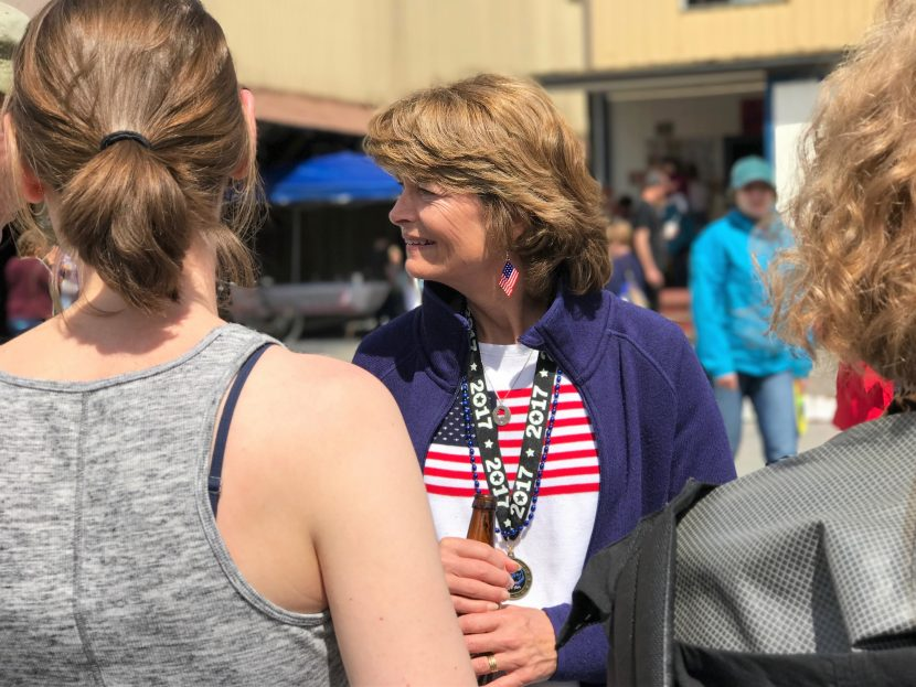 Sen. Lisa Murkowski talks to constituents during the Fourth of July celebration in Wrangell. (Photo courtesy Julia O'Malley)